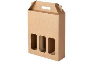valisette -coffret en carton kraft pour 3 bouteilles